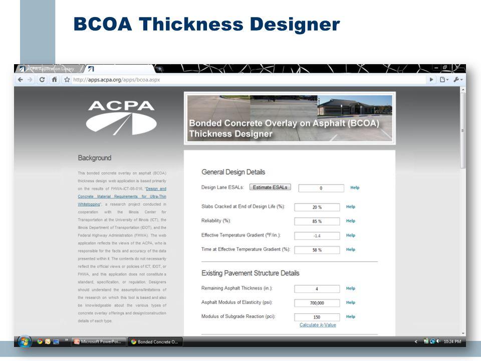 BCOA Thickness Designer