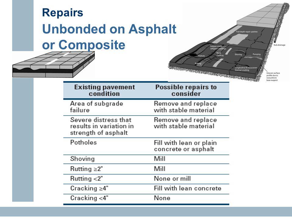 Repairs Unbonded on Asphalt or Composite