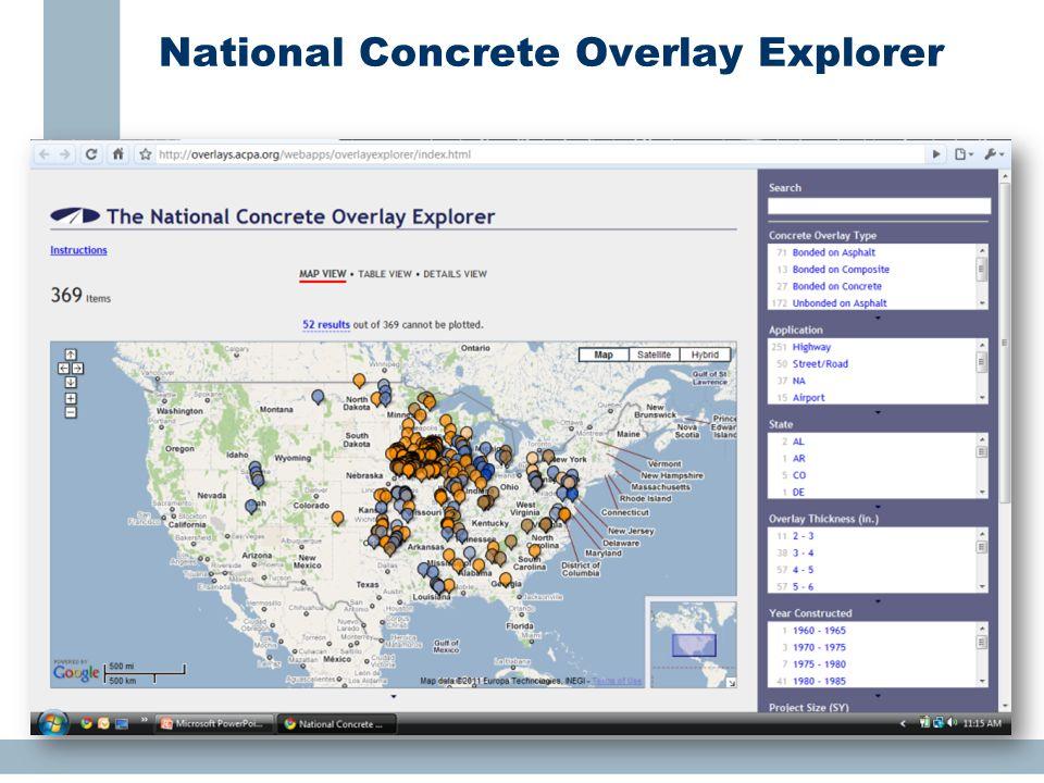 National Concrete Overlay Explorer