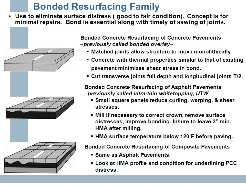 Bonded Resurfacing Family Use to eliminate surface distress ( good to fair condition). Concept is for minimal repairs. Bond is essential along with ti