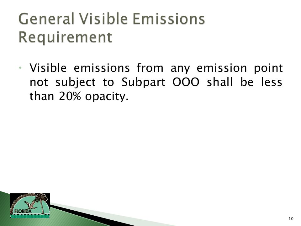 10  Visible emissions from any emission point not subject to Subpart OOO shall be less than 20% opacity.