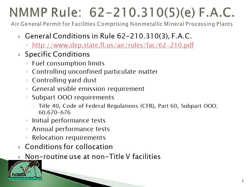 5  General Conditions in Rule 62-210.310(3), F.A.C.
