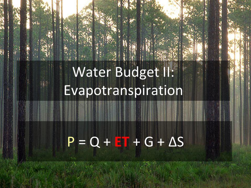 Water Budget II: Evapotranspiration P = Q + ET + G + ΔS