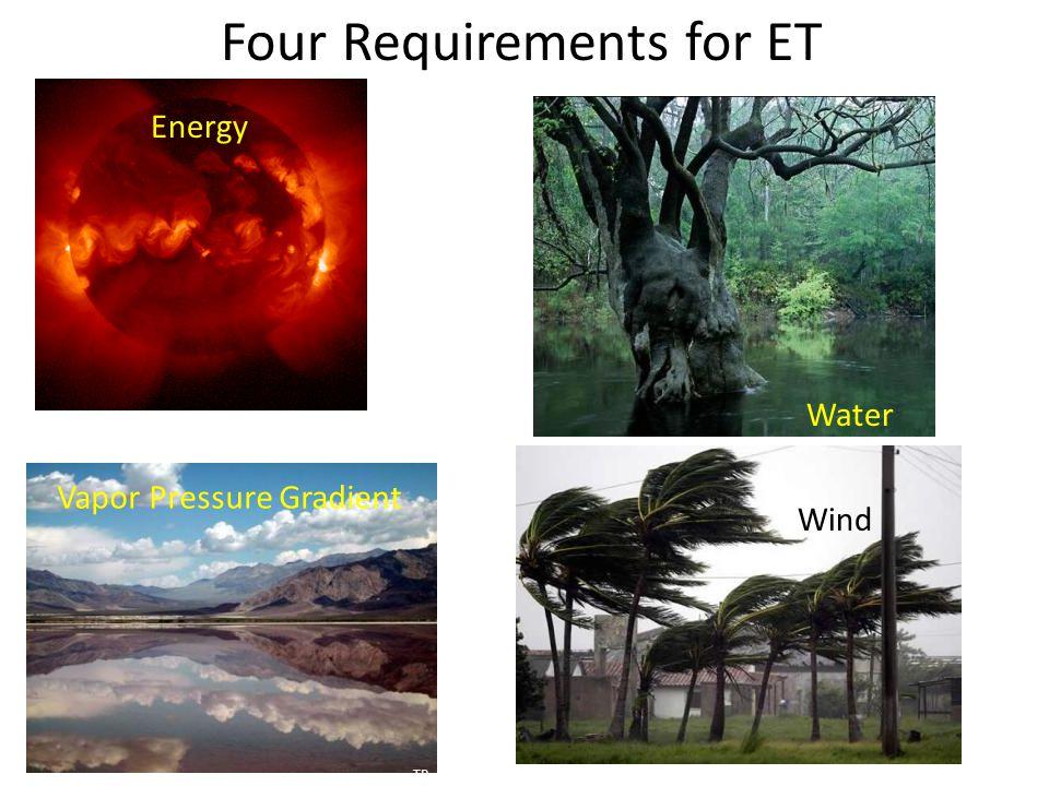 Four Requirements for ET Vapor Pressure Gradient Energy Water Wind NP TP