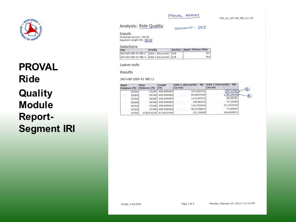 PROVAL Ride Quality Module Report- Segment IRI