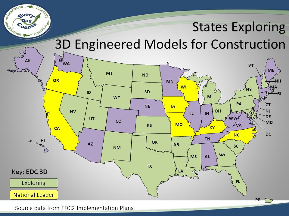 States Exploring 3D Engineered Models for Construction CA AZ CO NM TX OK AR LA MO KY AL GA FL VA OH MI VT AK MT NV ME WA OR UT KS ID WY ND SD MN NE WI IA ILIN MS TN SC NC WV PA NY CT NJ DE MD DC MA NH RI CA HI Key: EDC 3D PR Exploring National Leader Source data from EDC2 Implementation Plans