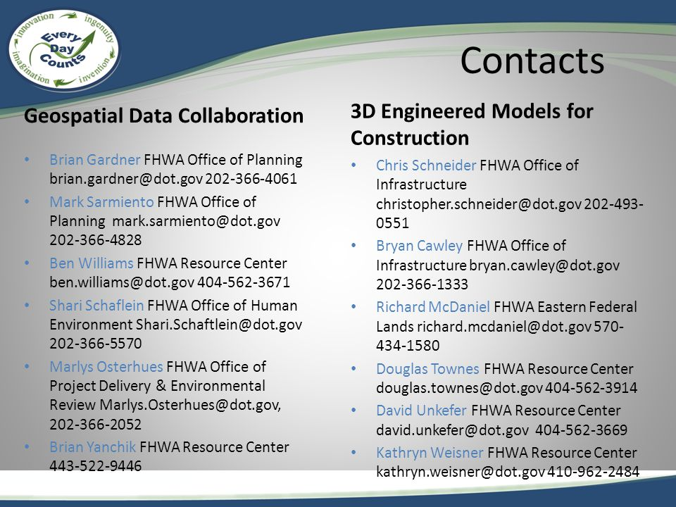 Contacts Geospatial Data Collaboration Brian Gardner FHWA Office of Planning brian.gardner@dot.gov 202-366-4061 Mark Sarmiento FHWA Office of Planning mark.sarmiento@dot.gov 202-366-4828 Ben Williams FHWA Resource Center ben.williams@dot.gov 404-562-3671 Shari Schaflein FHWA Office of Human Environment Shari.Schaftlein@dot.gov 202-366-5570 Marlys Osterhues FHWA Office of Project Delivery & Environmental Review Marlys.Osterhues@dot.gov, 202-366-2052 Brian Yanchik FHWA Resource Center 443-522-9446 3D Engineered Models for Construction Chris Schneider FHWA Office of Infrastructure christopher.schneider@dot.gov 202-493- 0551 Bryan Cawley FHWA Office of Infrastructure bryan.cawley@dot.gov 202-366-1333 Richard McDaniel FHWA Eastern Federal Lands richard.mcdaniel@dot.gov 570- 434-1580 Douglas Townes FHWA Resource Center douglas.townes@dot.gov 404-562-3914 David Unkefer FHWA Resource Center david.unkefer@dot.gov 404-562-3669 Kathryn Weisner FHWA Resource Center kathryn.weisner@dot.gov 410-962-2484