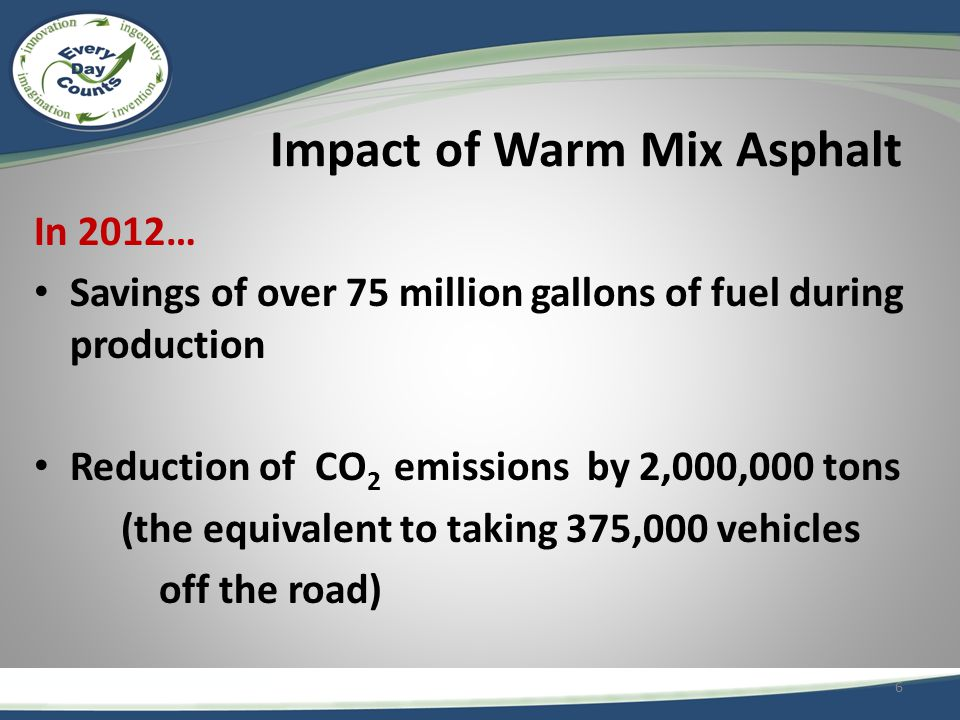 Impact of Warm Mix Asphalt In 2012… Savings of over 75 million gallons of fuel during production Reduction of CO 2 emissions by 2,000,000 tons (the equivalent to taking 375,000 vehicles off the road) 6