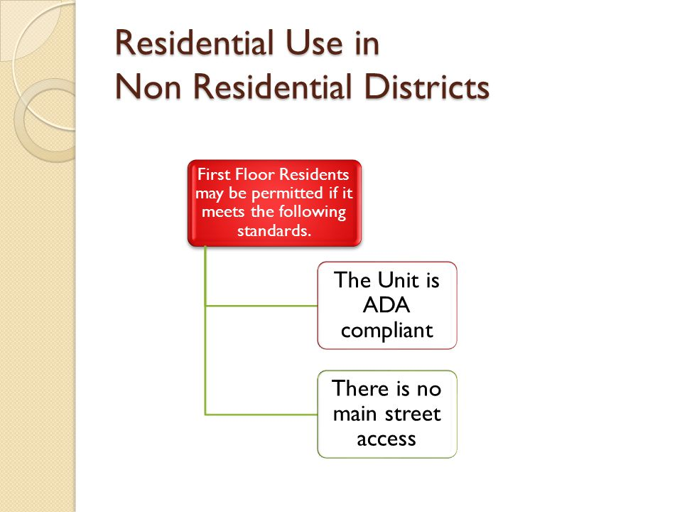 Residential Use in Non Residential Districts First Floor Residents may be permitted if it meets the following standards.