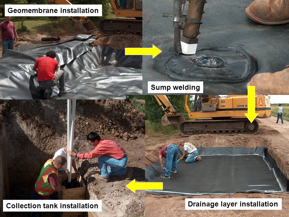 Geomembrane installation Sump welding Drainage layer installation Collection tank installation