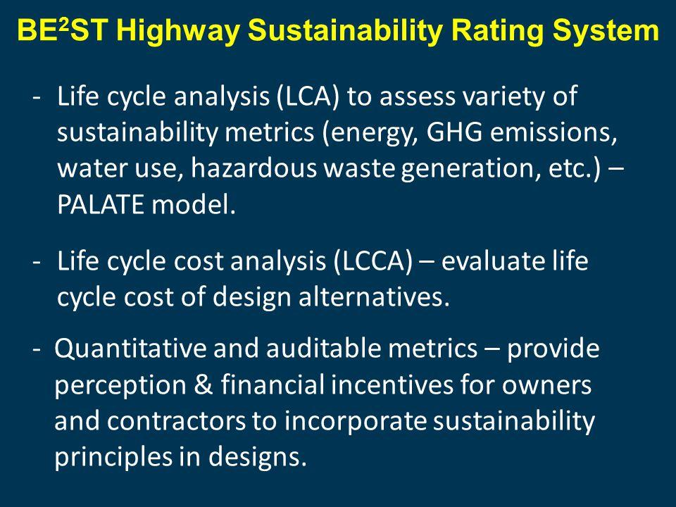 -Life cycle analysis (LCA) to assess variety of sustainability metrics (energy, GHG emissions, water use, hazardous waste generation, etc.) – PALATE model.