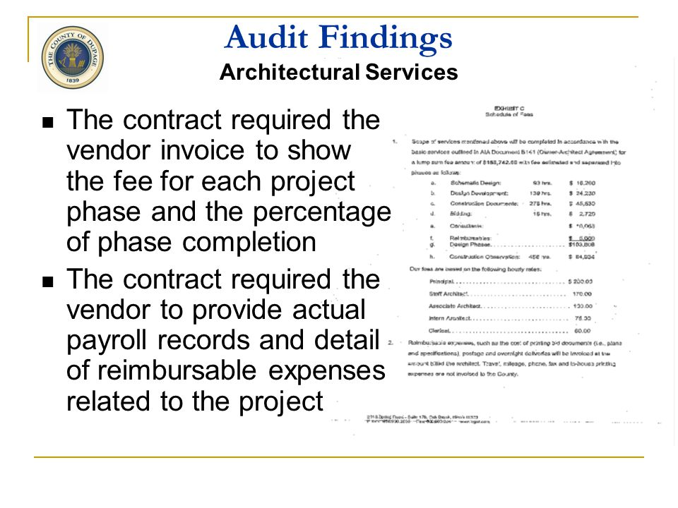 A professional services (no bid) contract was awarded for construction documents for window replacement at the County nursing home Audit Findings Arch