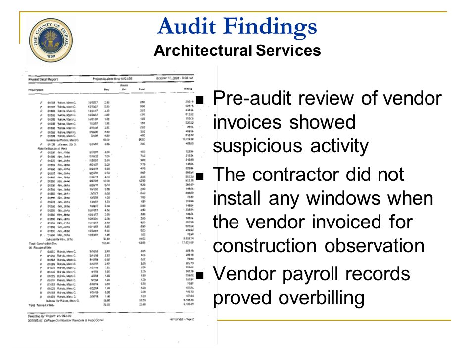Audit Findings Architectural Services The contract required the vendor invoice to show the fee for each project phase and the percentage of phase comp