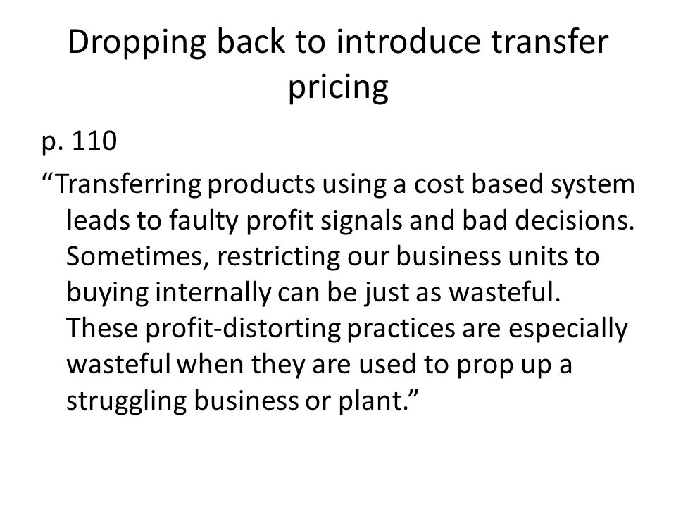 Dropping back to introduce transfer pricing p.