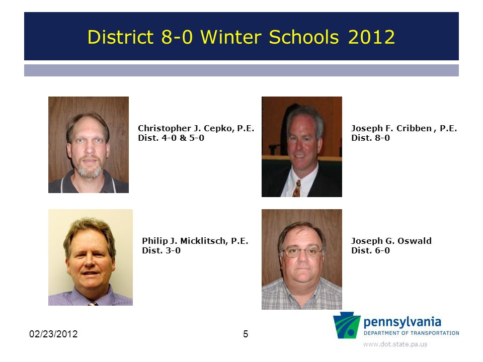 www.dot.state.pa.us District 8-0 Winter Schools 2012 Current Direction –Provide Support to the Districts –Be Proactive –Have a Positive Impact on Quality of Construction and Materials 6 What is Quality Assurance (Q.A.) 02/23/2012