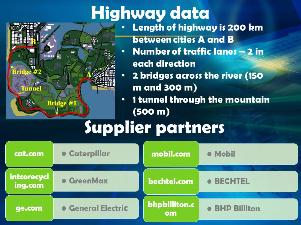 Highway data Length of highway is 200 km between cities A and B Number of traffic lanes – 2 in each direction 2 bridges across the river (150 m and 30