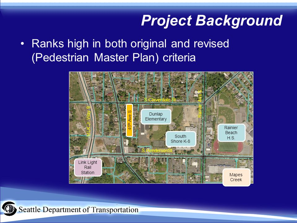 Project Background Ranks high in both original and revised (Pedestrian Master Plan) criteria Rainier Beach H.S.