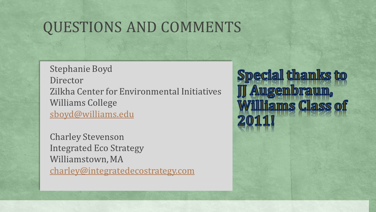 Stephanie Boyd Director Zilkha Center for Environmental Initiatives Williams College sboyd@williams.edu Charley Stevenson Integrated Eco Strategy Will