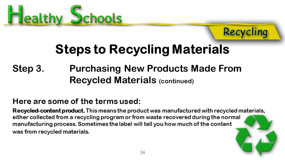 Step 3. Purchasing New Products Made From Recycled Materials (continued) Here are some of the terms used: Recycled-content product. This means the pro