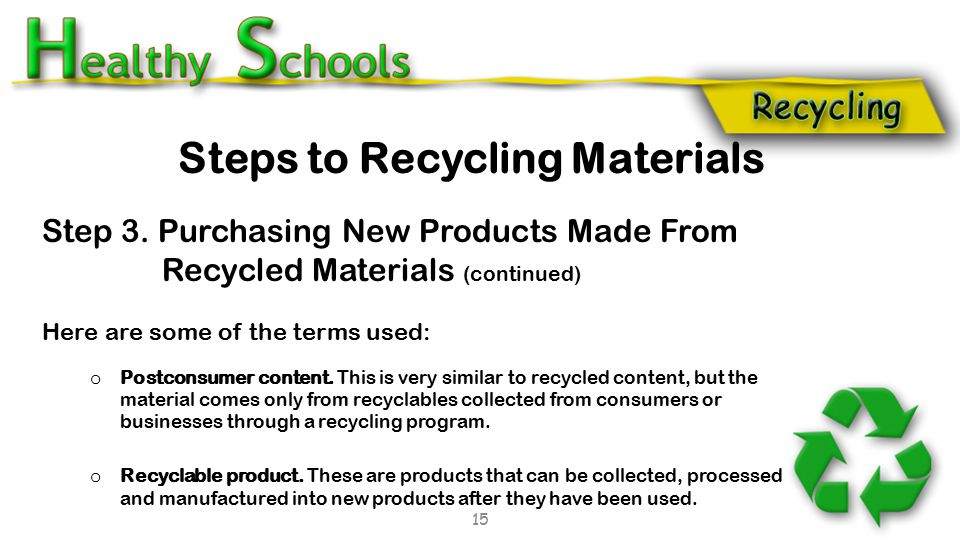 Step 3. Purchasing New Products Made From Recycled Materials (continued) Here are some of the terms used: o Postconsumer content. This is very similar