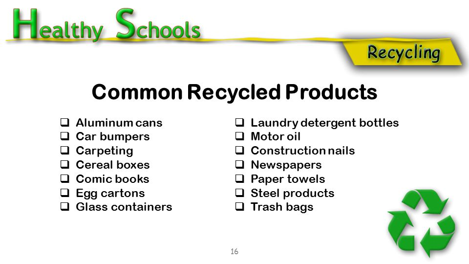 Common Recycled Products  Aluminum cans  Car bumpers  Carpeting  Cereal boxes  Comic books  Egg cartons  Glass containers  Laundry detergent b