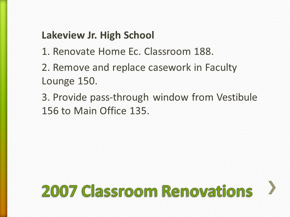 Lakeview Jr. High School 1. Renovate Home Ec. Classroom 188.