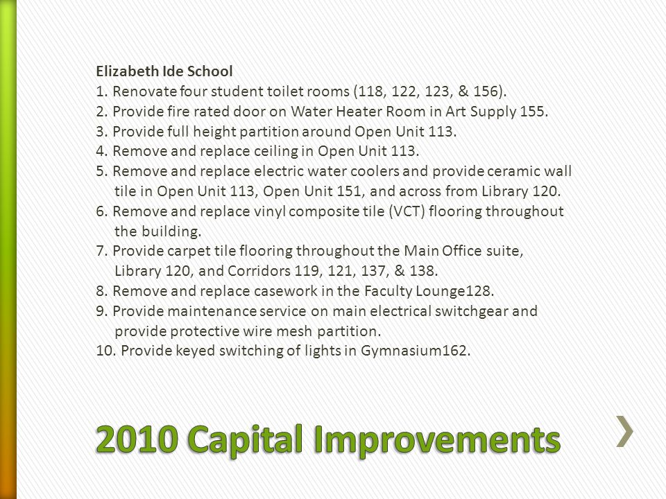 Elizabeth Ide School 1. Renovate four student toilet rooms (118, 122, 123, & 156).