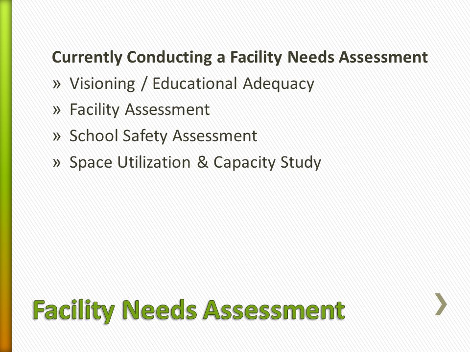 Currently Conducting a Facility Needs Assessment » Visioning / Educational Adequacy » Facility Assessment » School Safety Assessment » Space Utilizati
