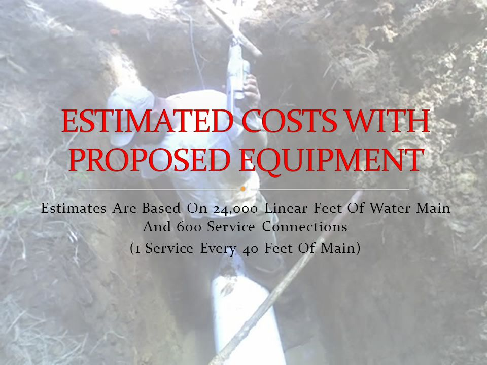 Estimates Are Based On 24,000 Linear Feet Of Water Main And 600 Service Connections (1 Service Every 40 Feet Of Main)