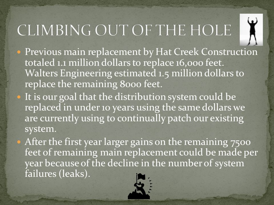 Previous main replacement by Hat Creek Construction totaled 1.1 million dollars to replace 16,000 feet.