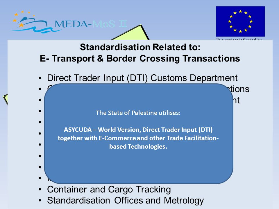 This project is funded by the European Commission MEDA MoS II Project – Ministry of Transport – State of Palestine Standardisation and Compliance are tools that have been developed over the past number of years by intergovernmental agencies and international organisations such as UNECE, UNCTAD, WCO, IMO, ICAO and the ICC.