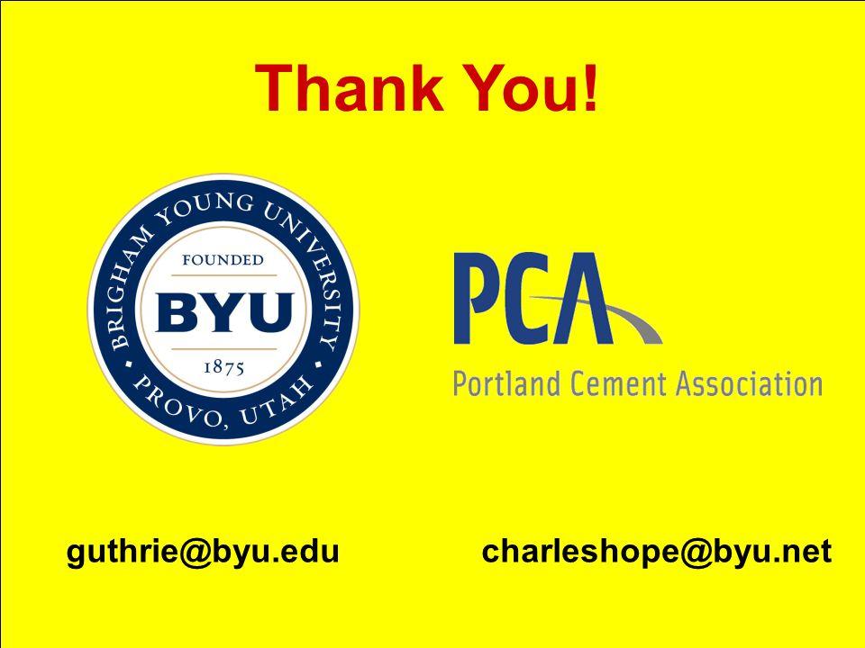 Thank You! guthrie@byu.edu charleshope@byu.net
