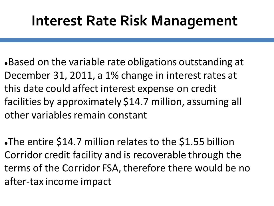 Interest Rate Risk Management Based on the variable rate obligations outstanding at December 31, 2011, a 1% change in interest rates at this date coul