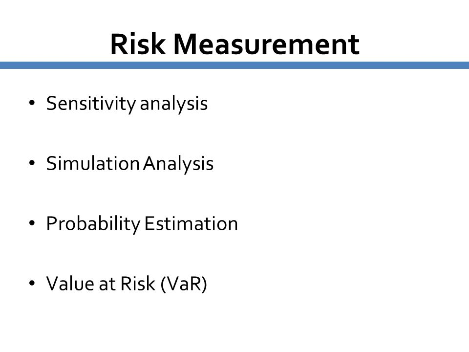 Risk Measurement Sensitivity analysis Simulation Analysis Probability Estimation Value at Risk (VaR)