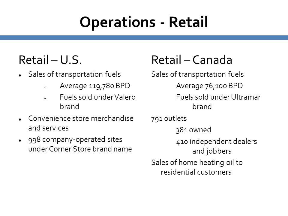 Operations - Retail Retail – U.S. Sales of transportation fuels  Average 119,780 BPD  Fuels sold under Valero brand Convenience store merchandise an