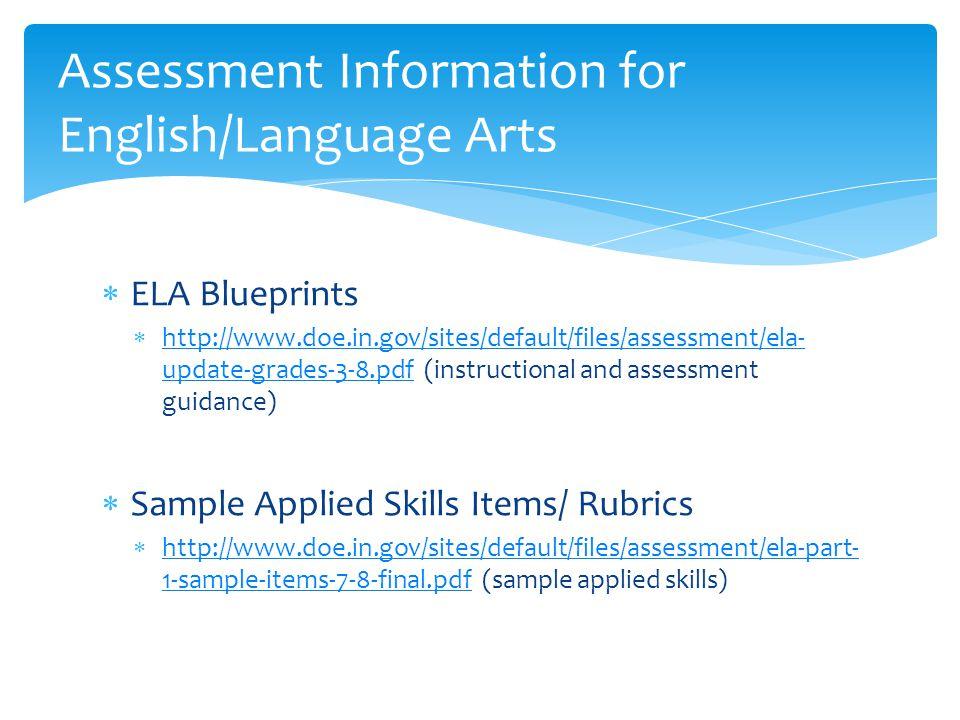 Assessment Information for English/Language Arts  ELA Blueprints  http://www.doe.in.gov/sites/default/files/assessment/ela- update-grades-3-8.pdf (instructional and assessment guidance) http://www.doe.in.gov/sites/default/files/assessment/ela- update-grades-3-8.pdf  Sample Applied Skills Items/ Rubrics  http://www.doe.in.gov/sites/default/files/assessment/ela-part- 1-sample-items-7-8-final.pdf (sample applied skills) http://www.doe.in.gov/sites/default/files/assessment/ela-part- 1-sample-items-7-8-final.pdf