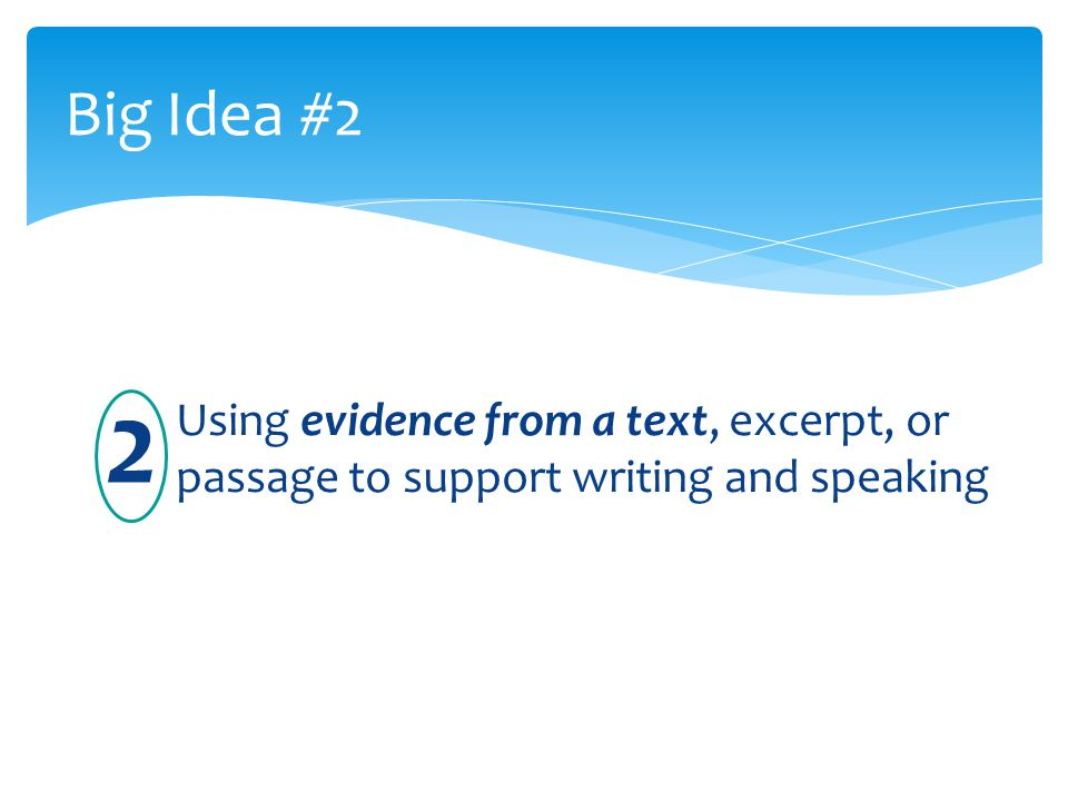 Big Idea #2 Using evidence from a text, excerpt, or passage to support writing and speaking 2