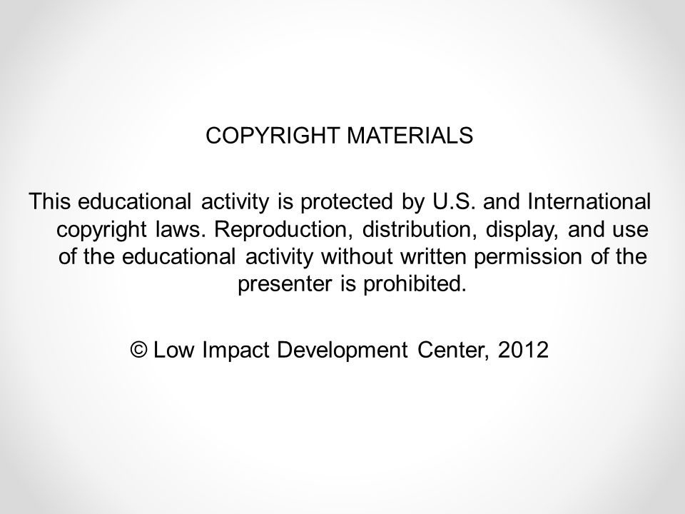 COPYRIGHT MATERIALS This educational activity is protected by U.S.