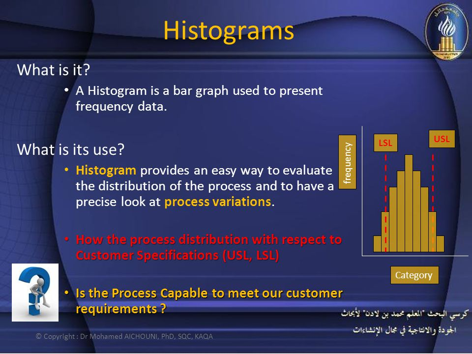 Histograms What is it? A Histogram is a bar graph used to present frequency data. What is its use? Histogram provides an easy way to evaluate the dist