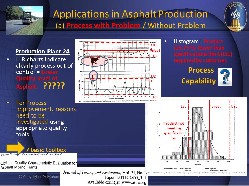 Applications in Asphalt Production (a) Process with Problem / Without Problem Production Plant 24 I R -R charts indicate clearly process out of contro