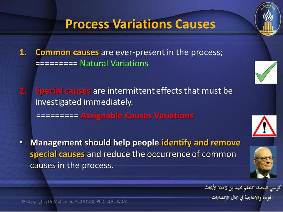 Process Variations Causes 1.Common causes 1.Common causes are ever-present in the process; ========= Natural Variations 2.Special causes 2.Special causes are intermittent effects that must be investigated immediately.