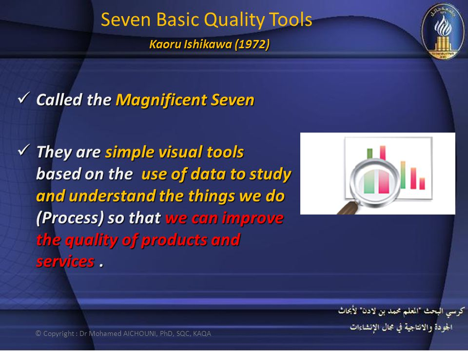 Kaoru Ishikawa (1972) Seven Basic Quality Tools Kaoru Ishikawa (1972) Called the Magnificent Seven Called the Magnificent Seven They are simple visual tools based on the use of data to study and understand the things we do (Process) so that we can improve the quality of products and services.