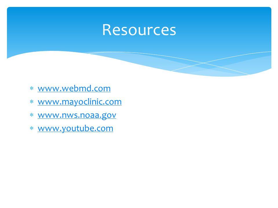  www.webmd.com www.webmd.com  www.mayoclinic.com www.mayoclinic.com  www.nws.noaa.gov www.nws.noaa.gov  www.youtube.com www.youtube.com Resources