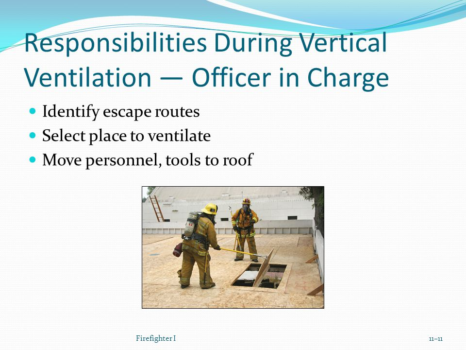 Responsibilities During Vertical Ventilation — Officer in Charge Identify escape routes Select place to ventilate Move personnel, tools to roof Firefighter I11–11