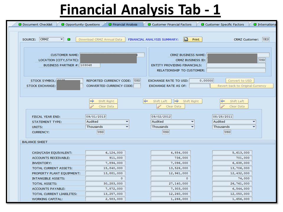 Financial Analysis Tab - 1