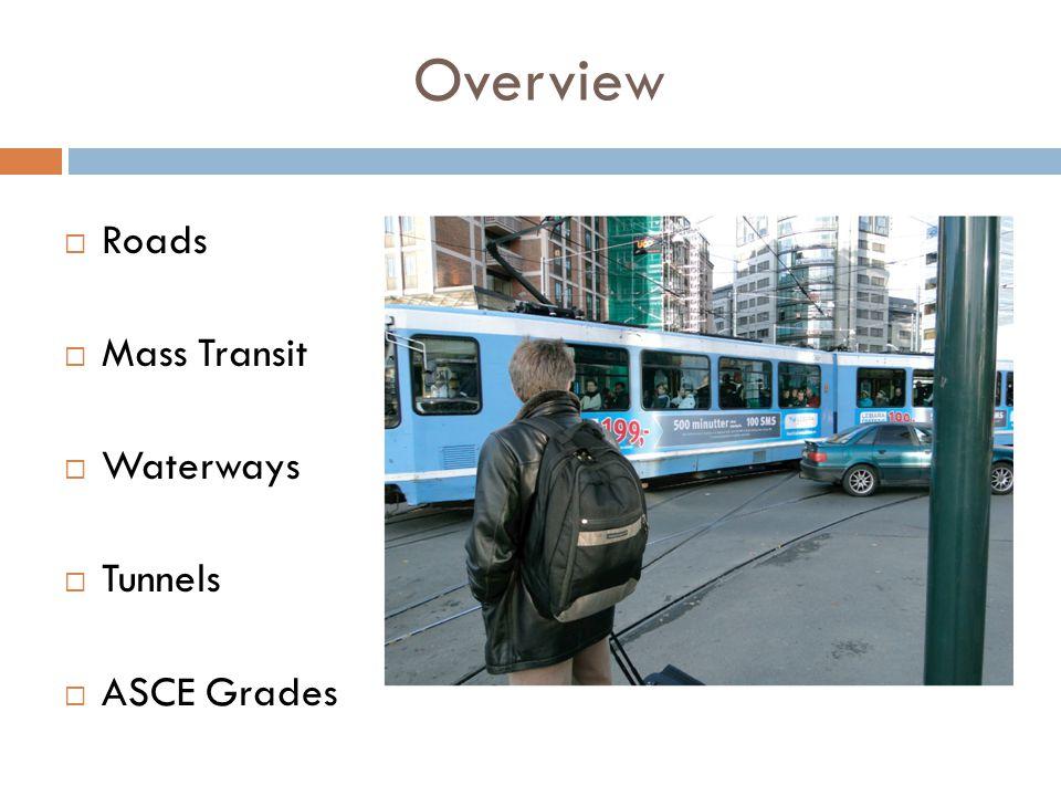 Overview  Roads  Mass Transit  Waterways  Tunnels  ASCE Grades