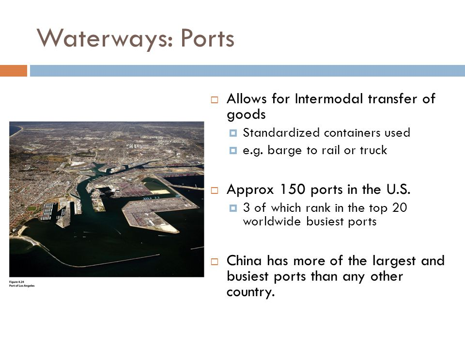Waterways: Ports  Allows for Intermodal transfer of goods  Standardized containers used  e.g.