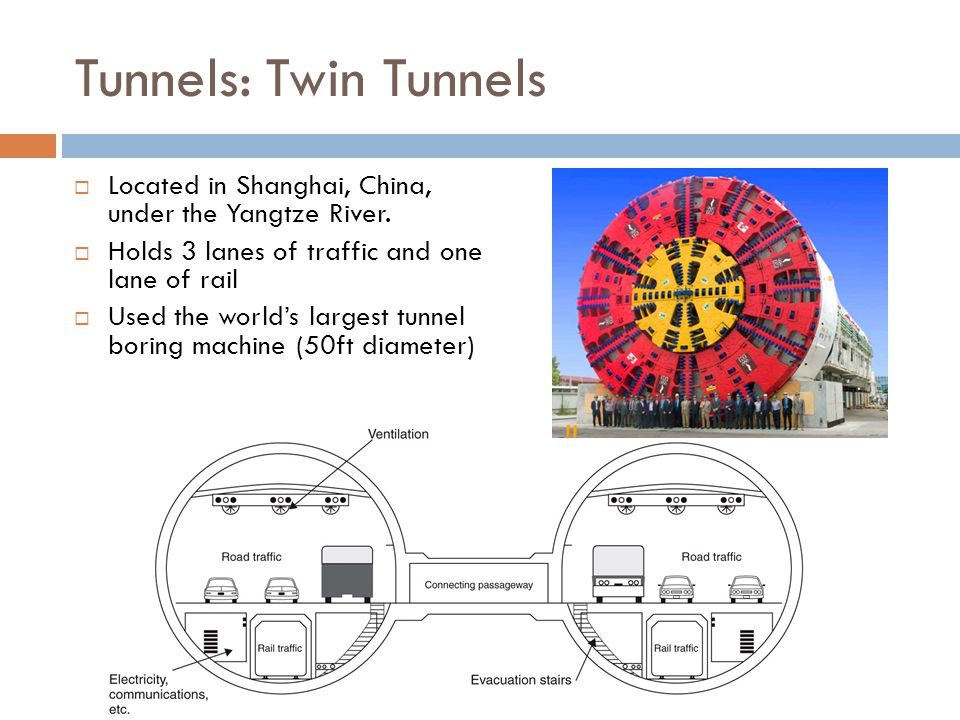 Tunnels: Twin Tunnels  Located in Shanghai, China, under the Yangtze River.  Holds 3 lanes of traffic and one lane of rail  Used the world's larges