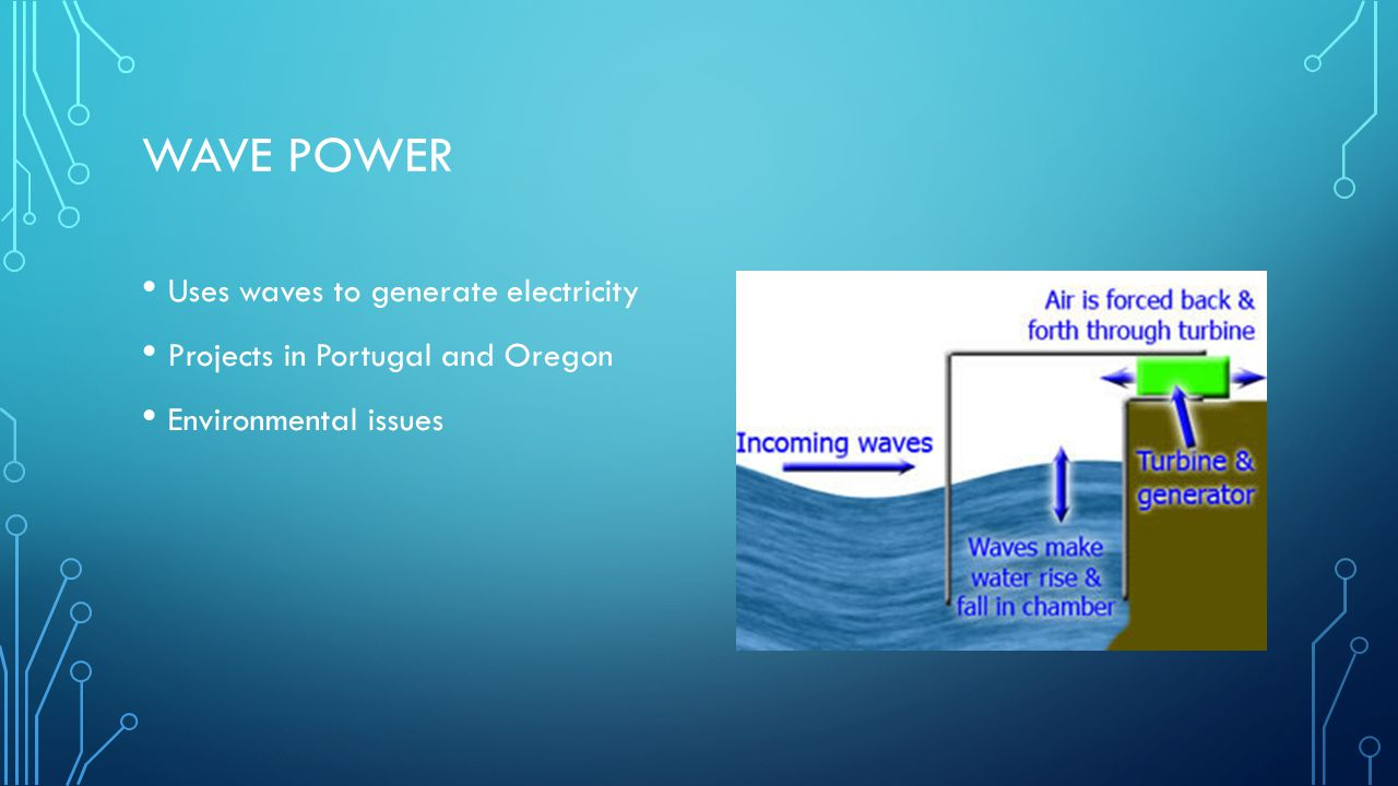WAVE POWER Uses waves to generate electricity Projects in Portugal and Oregon Environmental issues