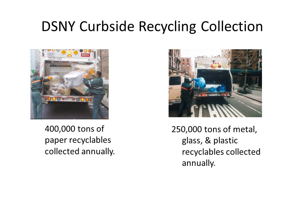 DSNY Curbside Recycling Collection 400,000 tons of paper recyclables collected annually. 250,000 tons of metal, glass, & plastic recyclables collected